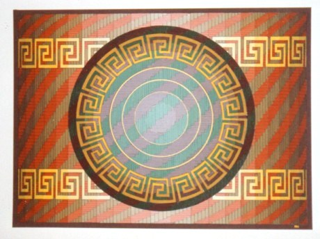 275 - Deco V Dish on rectangle (Indian Art) [70x60]